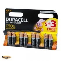 Duracell Plus Power AA Batteries (Pack 5 + 3 Free)