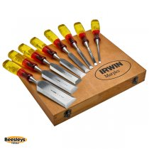IRWIN Marples M373 Bevel Edge Splitproof Chisel Set in Box, 8 Piece